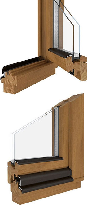 SOFTLINE 68 Holzfenster Kiefer Lasur-Lack Eiche hell DRUTEX